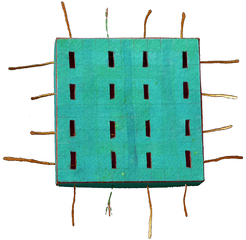 Conducting Turquoise, 2007, Watercolor/Copper Wire, 11x11 cm