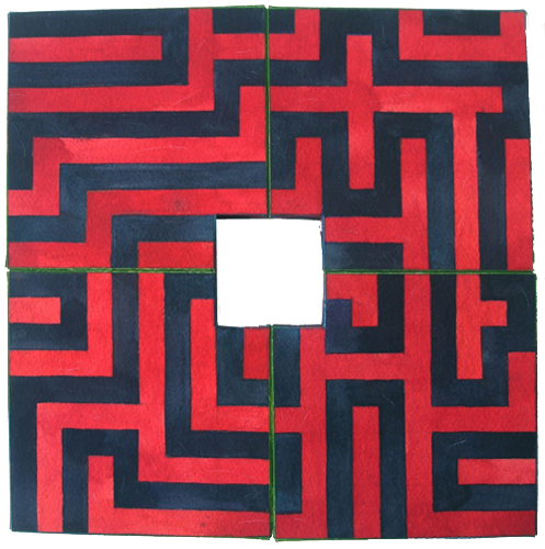 Red Labyrinth, 2006, Watercolor, 30x30 cm