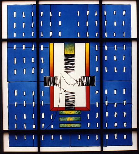 Meditation Window, St. Maria Immaculata, Hannover-Mellendorf, 1994, approx. 2,20m x 2,50m. (Derix-Taunusstein)