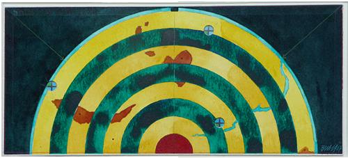 Three, Two, One, Zero, 2007, Watercolor, 20x55 cm