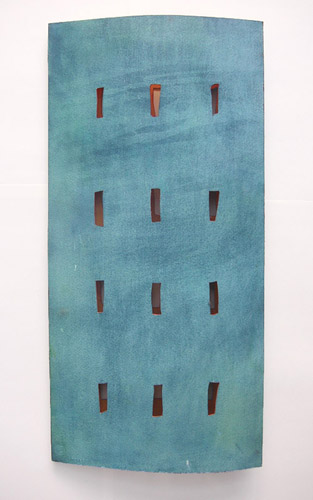 Pale Turquoise Tower, 2005, Watercolor on hand-made paper, 28x58 cm