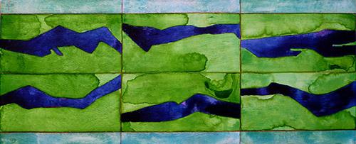 Flowing, 2008, Watercolor on wood, 20x50 cm